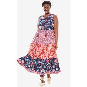 Woman Within Tiered Floral Cotton Maxi Dress 20W